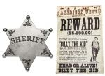 Billy The Kid Wanted Poster & Sheriff Badge